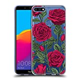 Head Case Designs Rote Variante Rosen Und Wildblumen Soft Gel Hülle für Huawei Honor 7C / Enjoy 8