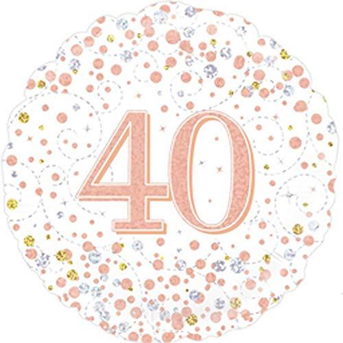 OakTree 227123 - Globo de 40 cumpleaños (45,7 cm), color blanco y oro rosa