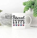 pianaiBB Rescued is My Favorite Breed Mug Rettungshund Rettungskatze Rescued Dog Rescued Cat Dog Mug Hunderasse Pfotenabdruck Rescued Mug Tasse Kaffee 11 Unzen