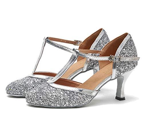 Meijili Damen T-Starp Ballroom Tanzschuhe Damen Glitzer Latein Tanzschuhe Hochzeit Abend Party Pumps Sandalen, Silber - Silber - Größe: 40 EU