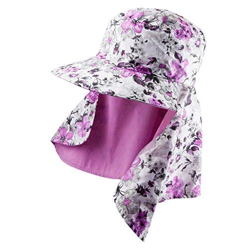 Shanxing Femme Chapeau de Soleil Réversible Pliable Protection Eté Casquettes Bonnets Lumière Pourpre