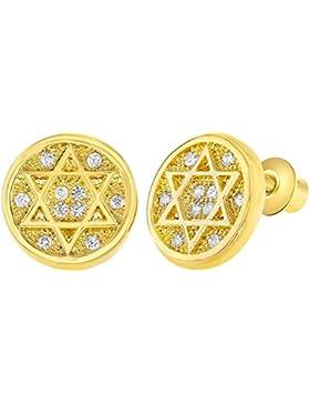 In Season Jewelry - Schraubverschluss Ohrringe Jüdischer Stern von David 18k Vergoldet Klarer Kristall