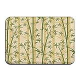 DEFFWBb Bamboo Tree DoorIndoor Outdoor Doormats Super Absorbs Mud Dirt Easy Clean Cute Cat Floor rug Door Mats 15.7' X 23.6'