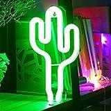 LED-Kaktus-Neonlicht-Zeichen - Nachtlichter Grün-Glanz-Neonlampen-Wand-Dekor Batterie und USB-Energie-Innenbeleuchtung Nachttisch und Tischlampen Dekoration für Wohnzimmer, Schlafzimmer, Party, Weihnachten, Geburtstagsgeschenk
