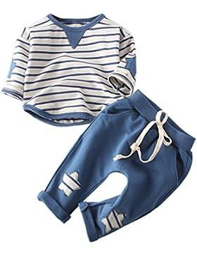 sunnymi Bekleidung Baby Jungen Mädchen 2tlg Kleidung Outfit Baumwolle Streifen Top + Hose Set Herbst Winter Unisex...