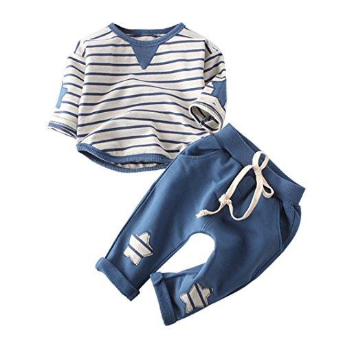 sunnymi Bekleidung Baby Jungen Mädchen 2tlg Kleidung Outfit Baumwolle Streifen Top + Hose Set Herbst Winter Unisex★Newborn Langarm (24-36 Monate, Blau) (Fit-blauer Streifen)