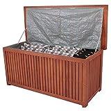 nxtbuy Auflagenbox Washington mit Folieninnentasche aus Akazienholz Wasserdichte Aufbewahrung Sitzbank für Gartenpolster