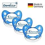 Dentistar® Schnuller 3er Set - Nuckel Silikon in Größe 1 von Geburt an, 0-6 Monate - zahnfreundlich & kiefergerecht - Beruhigungssauger für Babys - Blau Schlafräuber