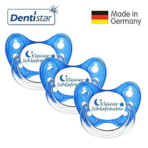 Dentistar® 3er Set Silikon-Schnuller - Größe 1 von Geburt an, 0-6 Monate - Nuckel zahnfreundlich & weich für neugeborene Babys, Blau