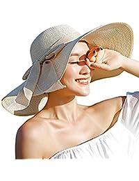 DRESHOW Sombrero de paja Big Bowknot para mujer Floppy plegable Gorra de playa Sun Hat UPF 50+