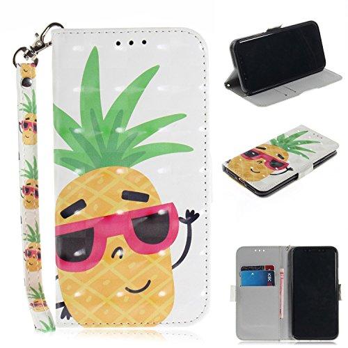 Cozy Hut iPhone X/iPhone XS Hülle, PU Leder Tasche mit Intern Karte Schlitz, Magnetic Closure mit Standfunktion und Handy Gürtel Schutzhülle für iPhone X/iPhone XS - Sonnenbrille Ananas