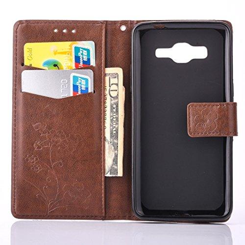 Meet de brun pour Apple iphone 6 /iphone 6S Case, Folio pour Apple iphone 6 /iphone 6S PU Housse, (Cinq feuilles et des fleurs) gaufré Wallet / flip étui / Pouch / Case / Holster / Wallet / Case en cu brun