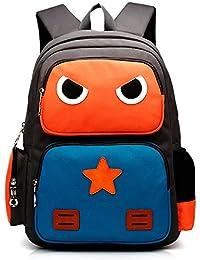 Tibes Cute Robot Kids Backpack School Bookbag Unisex Student Rucksack Orange Green