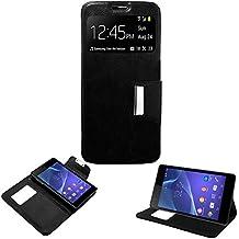 Donkeyphone 599371031 - flip cover negra para sony xperia m2 aqua funda con ventana, tapa, apertura libro, cierre con iman y soporte