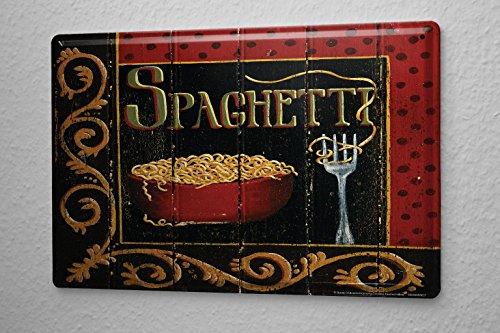 Arredamento Cucina Cartello Targa In Metallo Spaghetti Ornamenti piastra forcella Della Parete Piastra Insegna Metallica 20X30 cm