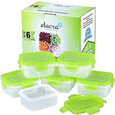 Elacra Stockage de nourriture pour bébé Sans BPA Ensemble de récipients hermétiques, congélateur et au micro-ondes, Lot de 6