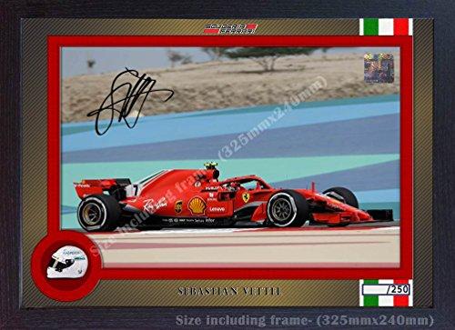 Preisvergleich Produktbild S&E DESING Sebastian Vettel Ferrari SIGNED Autograph Foto Poster Druck Gerahmt Foto