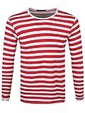 Männer Langarm T-Shirt rot/weiß gestreift