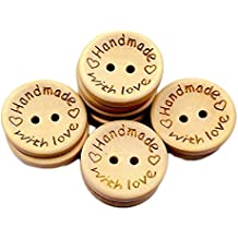 "20mm ""Handmade with Love"" Botones Decorativos de Tallada de Redonda,Madera Natural para Manualidades,100pcs Botón de Bricolaje Scrapbooking Costura Arte DIY Craft"
