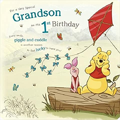 Winnie the pooh grandson on his 1st birthday card by Winnie the Pooh