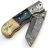 9137 Coltello damasco artigianale - Coltello pieghevole - Coltello da campeggio - Coltello tascabile - Coltello da collezione - Con fodero in pelle - Coltello di alta qualità 100%