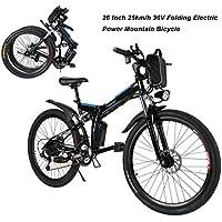 AIMADO Vélo Électrique VTT Pliable 26 Pouces Vélo de Montagne Tout suspendu Lithium-Ion Batterie 36V Vitesse Jusqu'à 25 km/h (EU Stock)