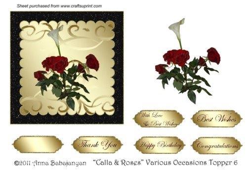 calla & Roses varie occasioni topper 6di Anna (Calla Kit)