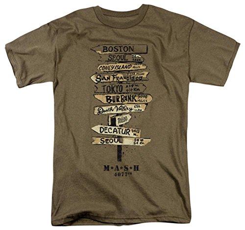 Erwachsene T-Shirt mit Schildern MASH - - Groß - Safari-grün-erwachsenen-shirt