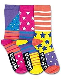 United Oddsocks -3 Oddsocks For Girls - Bounce Child: UK 12 - 5.5
