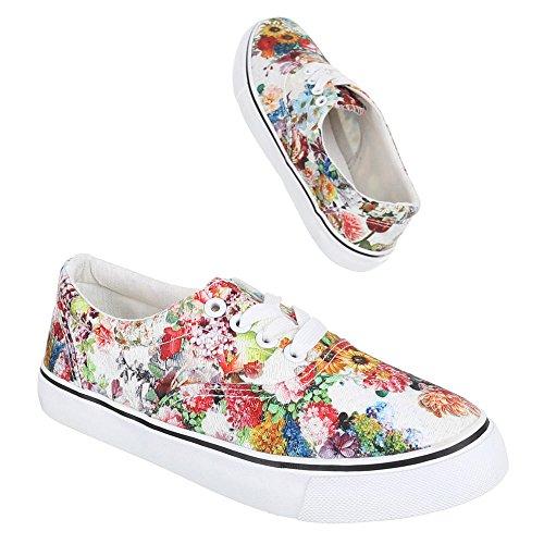 Ital-Design, manivelle de B011moderne, Chaussures basses à lacets Multicolore - Weiß Multi
