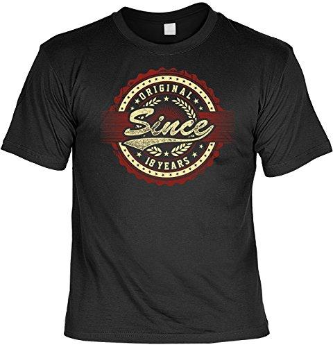 T-Shirt Funshirt - Original since 18 years - witziges Funshirt als Geschenk zum achtzehnten Geburtstag Volljährigkeit Schwarz