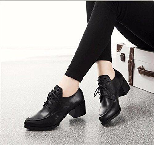 Europa Frauen schwarz spitze Schuhe hohe Blockabsatz Schnuerschuhe Leder Single Black