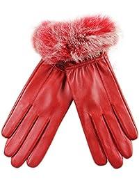 ELMA Feminine warme Winterhandschuhe aus Nappaleder, vergoldetes Logo, Besatz aus Kaninchenfell