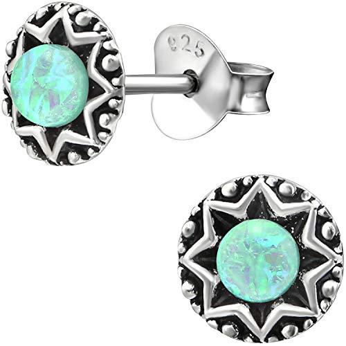 EYS JEWELRY Damen Opal Ohrringe rund 6 mm 925 Sterling Silber oxidiert türkis blau grün Ohrstecker Opal Schmuck Vintage Damenohrringe Damenohrstecker im Schmucketui