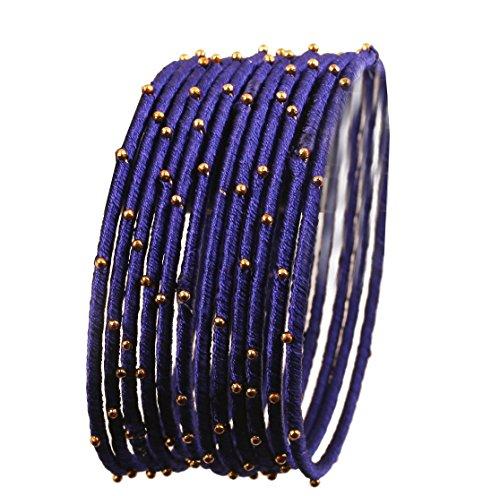 Touchstone Seidenfaden Armreif Kollektion handgefertigten Kunstseidenfaden exotischen Look mit Perlen marineblau Designer Armreifen Armbänder für Damen 2.37 Set von 12 Navy blau