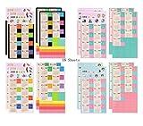 Funcoo set di 8adesivi 2018calendario planner per Bullet diario planner, mensile con divisori, linguette adesive sticker Style-1