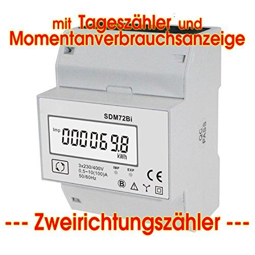 Preisvergleich Produktbild SDM72Bi - digitaler zweirechtungs Drehstromzähler mit momentan Lastanzeige und Tageszählfunktion (rückstellbar)