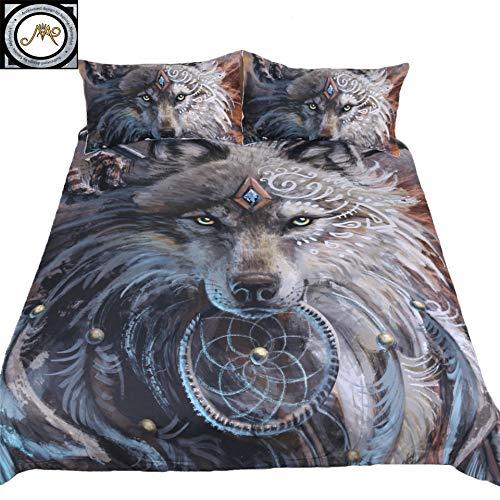 SunimaArt Wolf Warrior Bettwäsche-Set, 3-teilig, beinhaltet: 1 Bettbezug, 2 Kissenbezüge (ohne Decke) Queen Black,Multi -