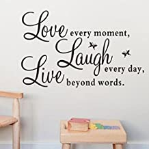 "Pegatina de pated ""Live Every Moment,Laugh Every Day,Love Beyond Words"" - STRIR Pegatina de cita de pared Calcomania de vinilo removible Decoracion del arte de casa"