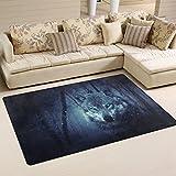 COOSUN Wolf Wald, Teppich Teppich rutschfeste Fußmatte Fußmatten Wohnzimmer Schlafzimmer 152,4x 99,1cm, Textil, multi, 60 x 39 inch