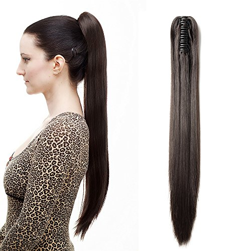Extension coda di cavallo [marrone scuro] clip capelli veri lisci lunghi con pinza ponytail extension straight 53 cm 21 pollici 140g