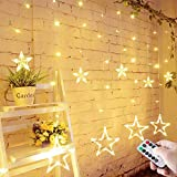 LED Lichterkette mit LED Kugel 12 Sterne 138 Leuchtioden Lichtervorhang Sternenvorhang 8 Modi Innen & Außenlichterkette Wasserdicht dekoration für Weihnachten Deko Festival Zimmer Fenster - Warmweiß