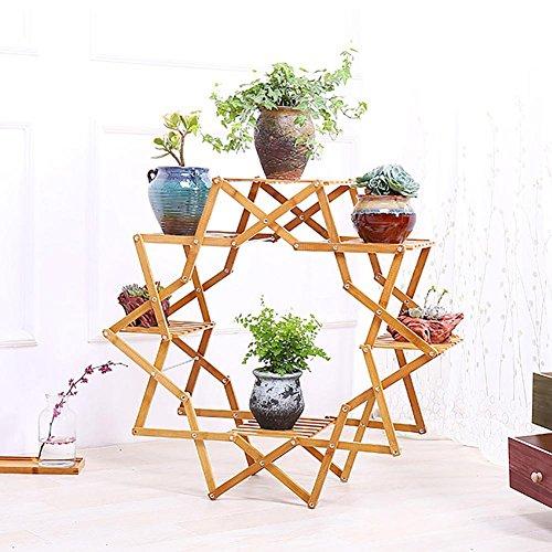 RJZHJ Personnalité créative Bois massif balcon salon Pliant Support de fleurs Simple sol Multi-couche Pot de fleurs Bonsai cadre Cadre de l'usine , Brown