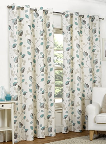 Ready Made Teal Leaf Design Modern Curtains Full Lined Eyelet Ring Top [Size 66″ x 72″]