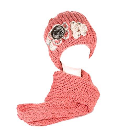 Dames/Femmes Filles Tricoté Brodé Fleur Fausse Fourrure Cou Foulards Echarpes/Châle Chapeau/Capuchon avec Strass Rose corail
