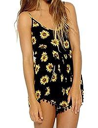 SAMGU Femme Sexy été Combinaison Combishort Salopette Mini Robe Imprimé sans manches V Neck Sunflower