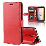 Wendapai Wiko Sunny 3 Plus Brieftasche Hülle, Prämie Leder Zipper Brieftasche Schutz Removable Kartenschlitz Pocket Pouch Flip Schutz Hülle-Red