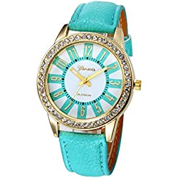 WINWINTOM Women Stainless Steel Analog Leather Quartz Wrist Watch Sky Blue