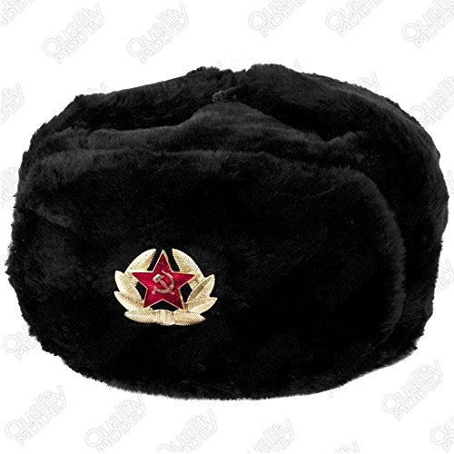 UNISEX RUSSIAN TRAPPER HAT FAUX FUR WITH SOVIET BADGE USHANKA COSSACK