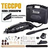 Herramienta rotativa eléctrica, Mini amoladora TECCPO 170W, 8000-35000 / Talla/Corte/Pulido/Control de profundidad / 80 Accesorios/Diseño ergonómico/Mandril de 3 garras, Eje flexible TECCPO